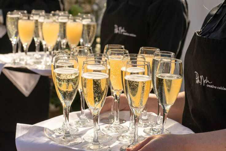 Champagne #wedding reception, complete with canapés