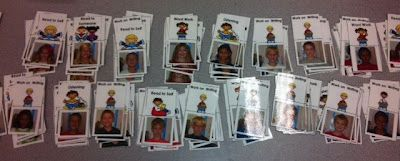 I put the kids' pics on my Daily 5 cards instead of names...just for fun!  #daily5 #centers #stations