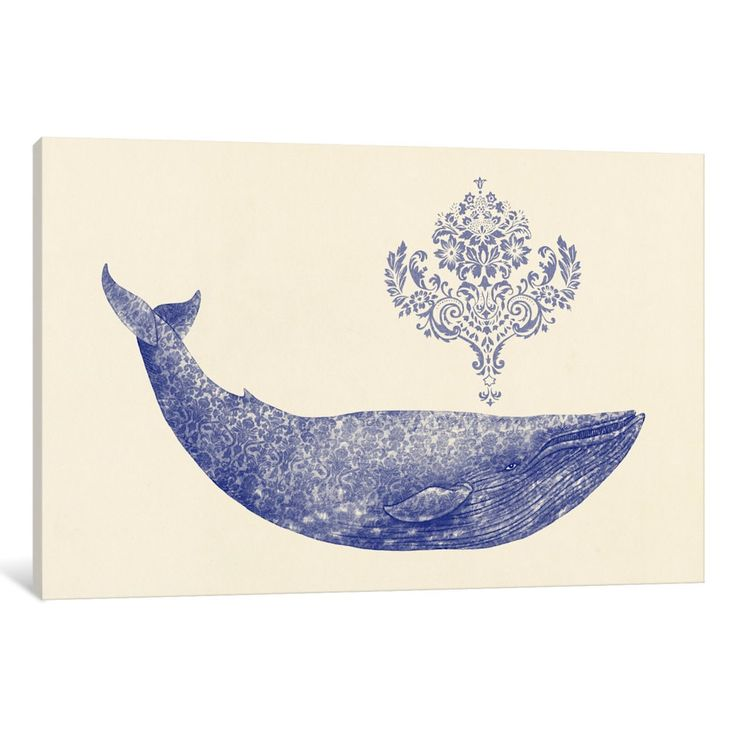 iCanvas Damask Whale #1 by Terry Fan Canvas Print