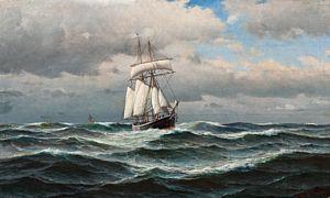 Haaland, Lauritz - Skute på åpent hav, 1901 / Jule- auksjon 2013 / Kunsthandel…