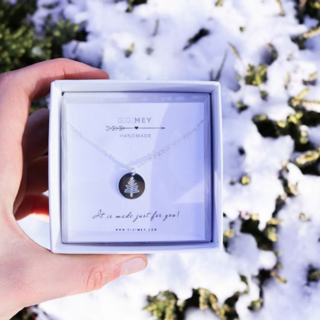 Engraved evergreen disc necklace