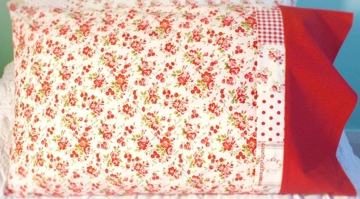 Beautiful French-seamed Pillowcase from my Roses & Gingham Collection with Patchwork Detail 100% high quality cotton fits standard size pillow looks great as a matching set or mix and match with the two other designs from this Collection