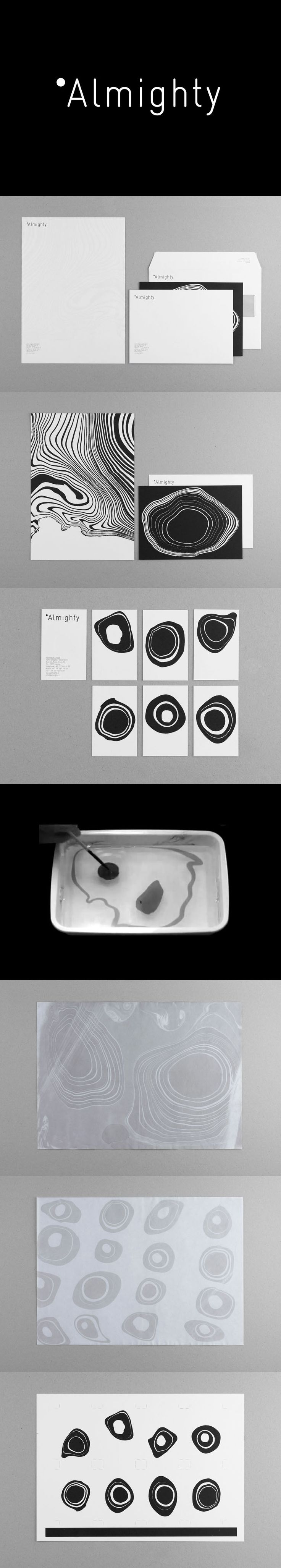 "Almighty / Demian Conrad Design / ""Almighty is a company specializing in interior design and home staging that needed a flexible and contemporary approach to its identity while still maintaining its classic traditions. We focused on the idea of decoration, and after some research we found an analogy between book covers and wallpaper. We set about creating a pattern of organic shapes using the Japanese technique of Suminagashi marbling"" / #generative #analog"