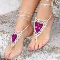 2015 nueva Pulseras Tobilleras Multi hilo hilo de algodón Victorian Lace boda de playa Crochet las sandalias descalzas Tobilleras trébol