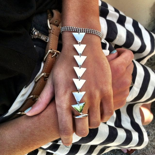 Triangle Bracelet Ring Attached Gold or Silver.
