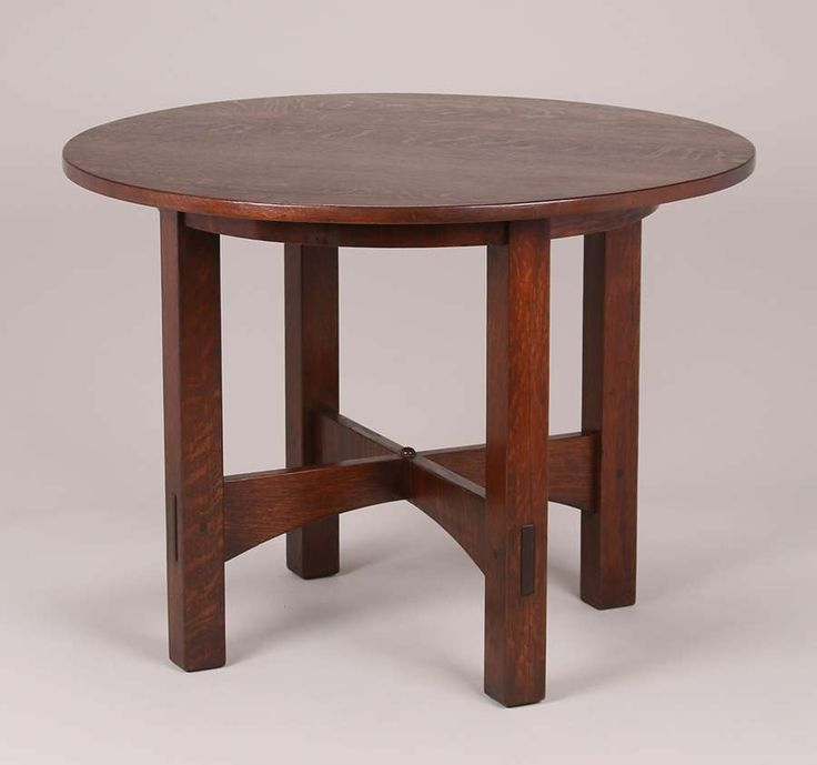 Gustav Stickley 40″d round table.  Signed with early Eastwood label c1903-1904.  Refinished.