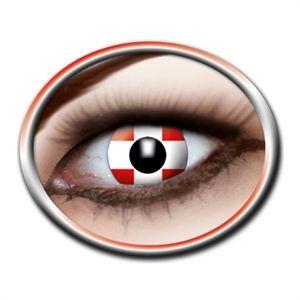 Køb kontaktlinser der får dine øjne til at ligne det danske flag. Sjove #kontaktlinser fra @Partybutikken ApS #Danmark