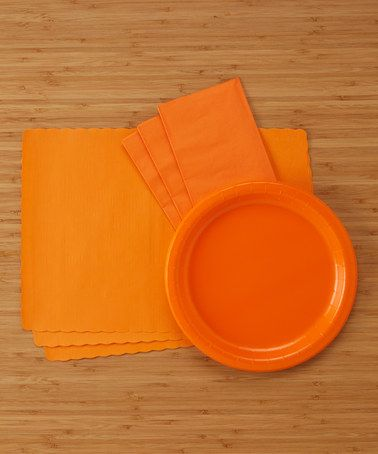 Another great find on #zulily! Sunkiss Orange 124-Piece Party Supply Dinner Set #zulilyfinds