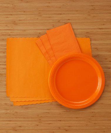 Another great find on #zulily! Sunkiss Orange 124-Piece Party Supply Dinner Set #zulilyfinds