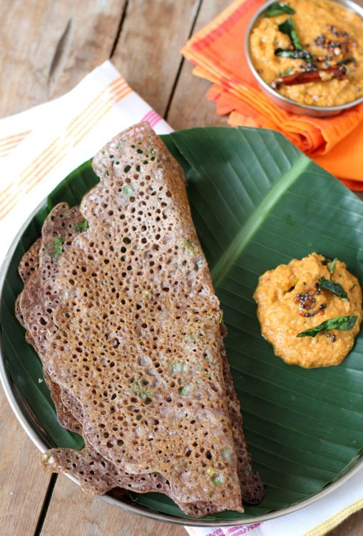 Easy and healthy breakfast dish. Ragi dosa made with finger millet flour and semolina.
