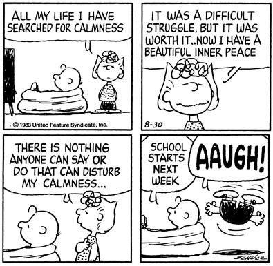 Charlie Brown damaging Sally's calm. tsk tsk