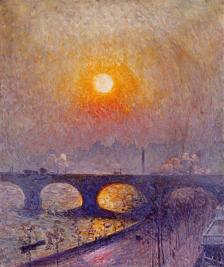 Città e paesi. Emile Claus: Tramonto sul Ponte di Waterloo (Londra). Olio su tela del 1916. Collezione privata, Belgio. In molti hanno dipinta questa veduta del ponte, con il vapore dei treni che lo percorrono: la città s'intravede lontana e sfumata, nella nebbia luminosa di un tramonto.