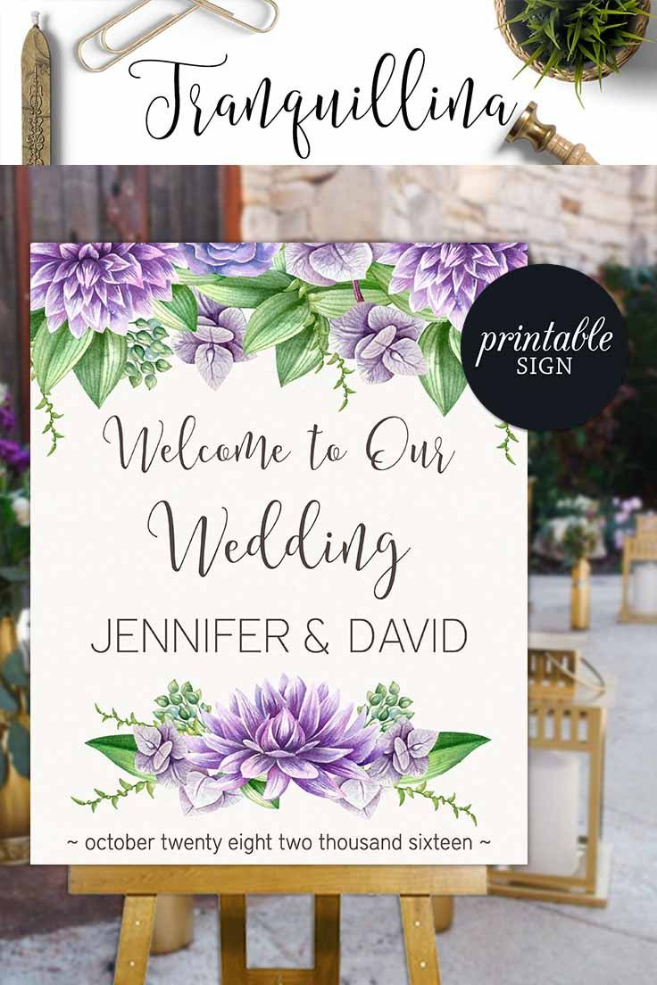 Wedding Welcome Sign Printable, Floral Welcome sign, Purple Wedding Sign, Bridal Shower Welcome sign, Baby Shower Sign, Printable Welcome Sign - pinned by pin4etsy.com