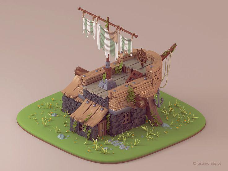 Ship building - Prerendered 3d Game model, Rafał Urbański on ArtStation at https://www.artstation.com/artwork/ship-building-prerendered-3d-game-model