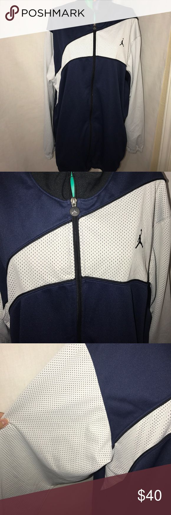 Men's air Jordan jacket XL Navy blue, white, and black Air Jordan jacket size XL. This jacket is in perfect conditions. Air Jordan Jackets & Coats Performance Jackets
