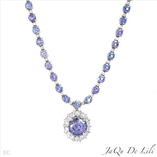 $3,989.00  Jaqu De Lili! Made in USA Luxurious Brand New Necklace with 32.05ctw Super Clean Diamonds and Tanzanites Made of 14K Gold