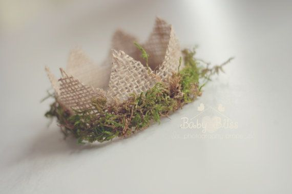 Newborn Mini Burlap and Moss Crown Newborn by BabyBlissProps, $18.00