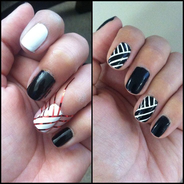 Cute Easy Nail Designs Using Tape: Striping Tape Nail Design