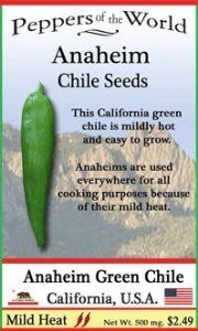 """Heirloom Anaheim Green Chile Seeds - 30 - Mild Heat - Easy to Gow by Sandia Seed Company. $2.49. Large smooth 7-1/2"""" long peppers with thick flesh and mild heat.. A heirloom grown in the Anaheim, California area since the 1920's.. Easy to grow and great for container gardening.. Also known as California Green Chile and the New Mexico Chile.. Anaheim peppers seeds - Capsicum annuum (75 days) Plants seeds outdoors 2 weeks after your last frost date. Thin to 30"""" apart, wat..."""