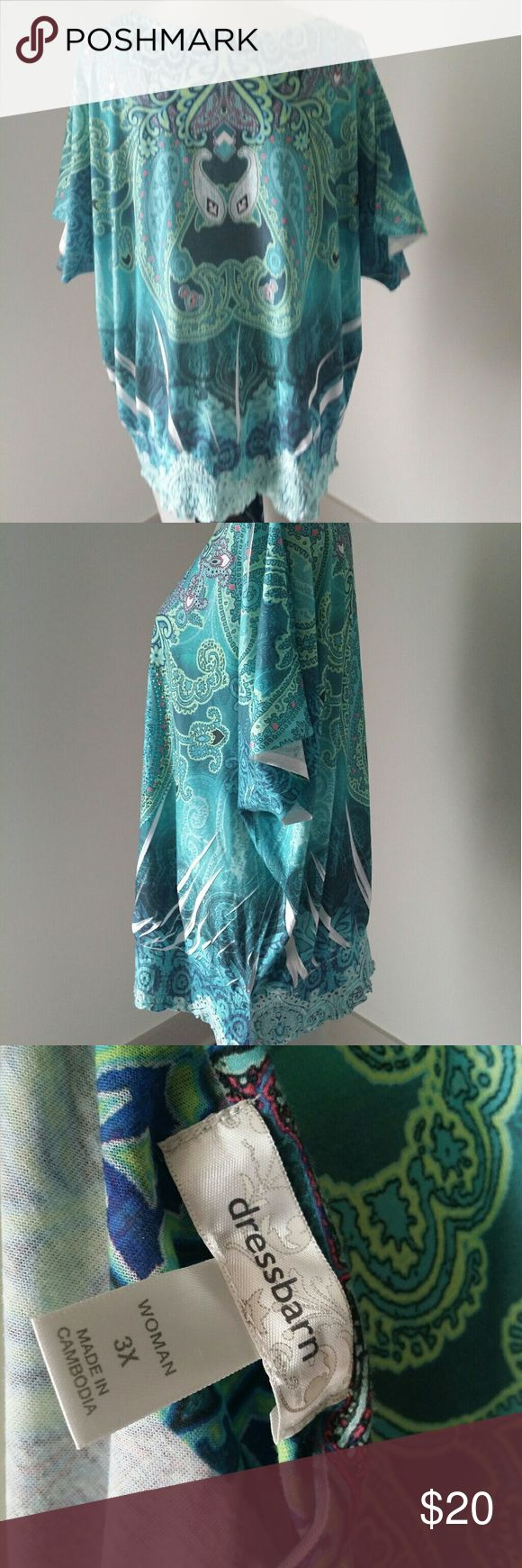 "Boho Top Festival Plus six 3x Dress Barn Dressbarn Women Blouse Top Shirt Rhinestones Peasant 3X Paisley Ombre New without tags Dressbarn Teal green, mint, coral,white, blue Women Blouse Top Shirt Rhinestones Elastic peasant hem Bohemian, Boho, Festival, peasant, tye dye Size 3X Paisley Short sleeve Armpit to armpit 29.5"" Shoulder to hem 29.5"" Construction is good. Dress Barn Tops Tunics"