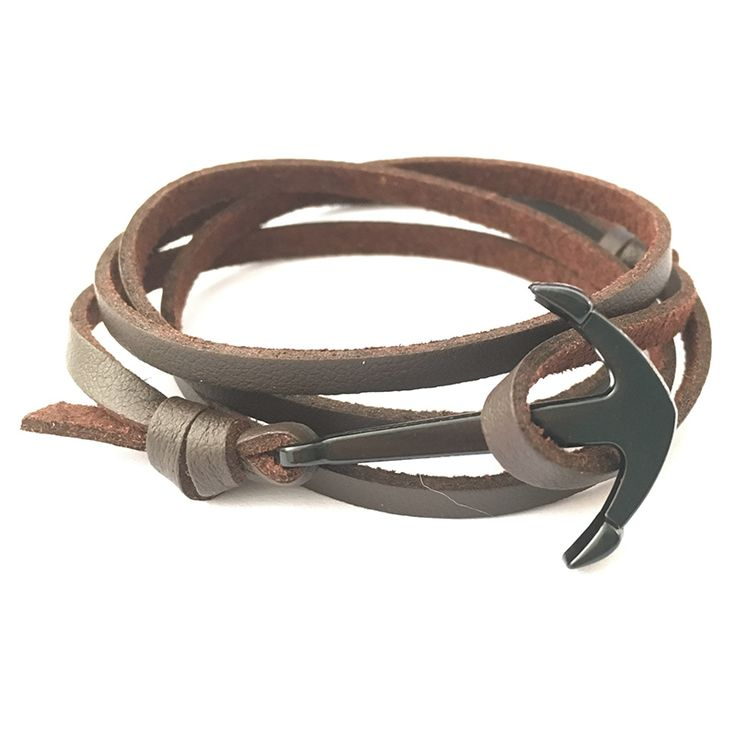 Men And Women Jewelry Adjustable Bracelets Custom Black Anchor Lovers Handmade Leather BA-Brown Style Wholesale