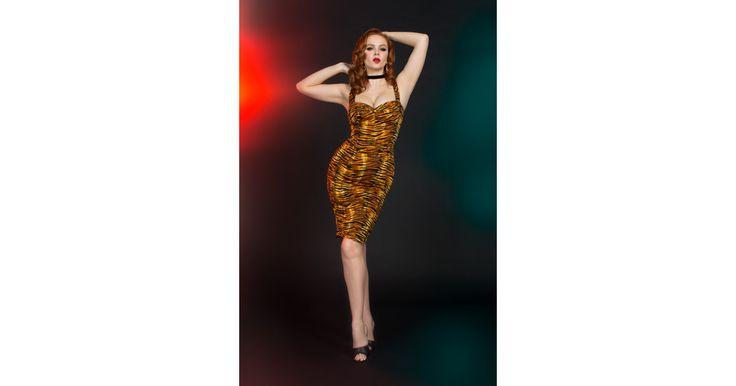 Varla Dress in Tiger Print - Dresses - Clothing | Pinup Girl Clothing