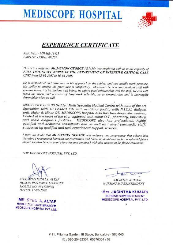 Rn Resignation Letter template Icu nursing, Certificate format