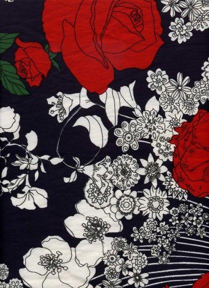 장미 꽃 동양 패턴
