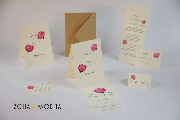 Wedding stationery with peony www.zonamodna.com