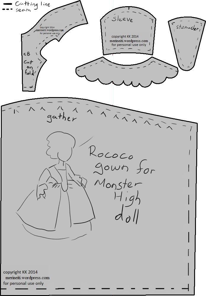 Free Monster High rococo dress pattern for 18th century clothes by merineiti