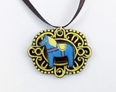 Blue and Yellow Dala Horse Cameo Pendant with Ribbon Necklace