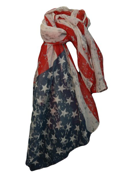 Retro American Flag Scarf Show your patriotism with this stylish, Retro American flag scarf! Made from 100% Polyester Light weight, great value @ only $6 #$6