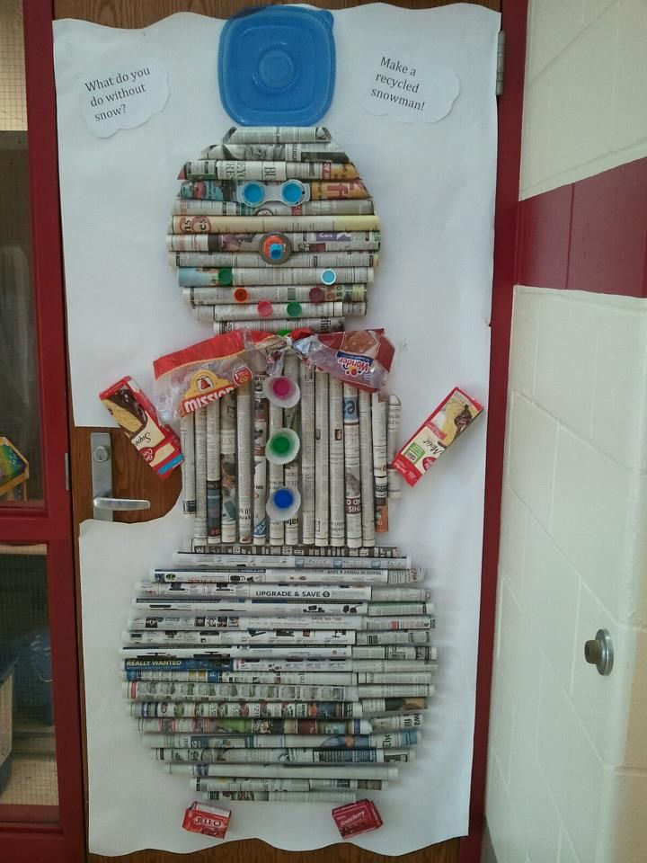 """Classroom door decorating contest. My son's class won! """"How do you make a snowman with no snow? Make a recycled one!"""""""
