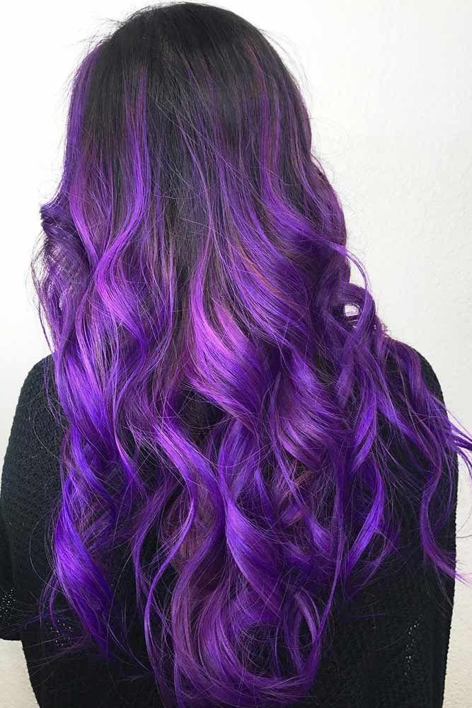 35 Unique Purple And Black Hair Combinations Lovehairstyles Com Purple Balayage Hair Dye Tips Balayage Hair Purple