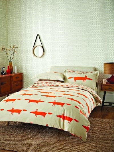 Mr Fox Housewife Pillowcase - pack of two. (318125) - Scion Bedding - This contemporary pillowcase design has been inspired by the Mr Fox wallpaper design and is shown in deep orange on a neutral base and co-ordinates with the Mr Fox Duvet sets. Printed on 100% cotton. Supplied in set of 2 - the housewife pillowcase is printed in the smaller scale design. Size:  74 x 48cm.