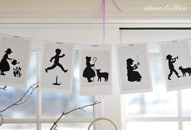 Love the vignette nursery rhyme pics over the written page for a banner!  From Dear Lillie