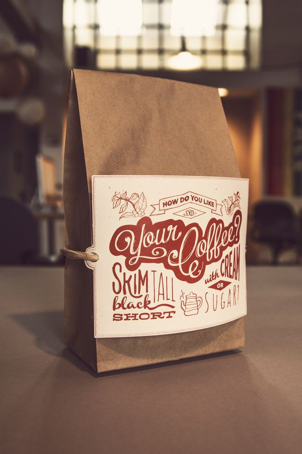 Coffee Bags & Lettering Postcard.  Good idea for marketing information for realtor's etc to use as client gifts.