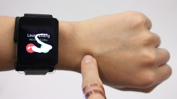 A special ring and a modified smart watch make human skin a touch interface for playing games and more.