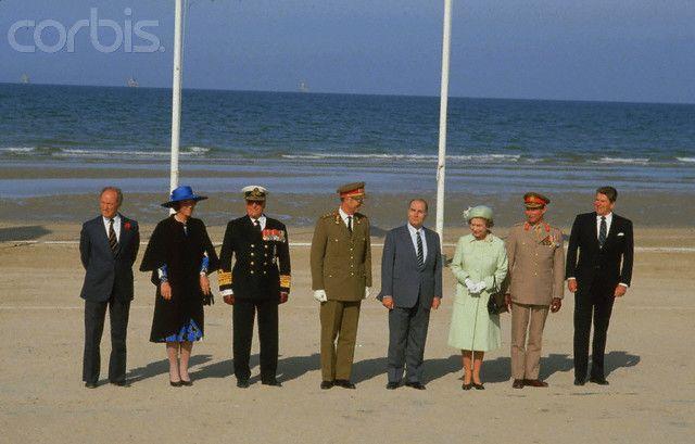 Ceremony to mark the anniversary of Normandy landings: Pierre Trudeau, Queen Beatrix, X, King Baudouin, Francois Mitterrand, Queen Elizabeth, Grand Duke Jean and Ronald Reagan. June 06, 1984