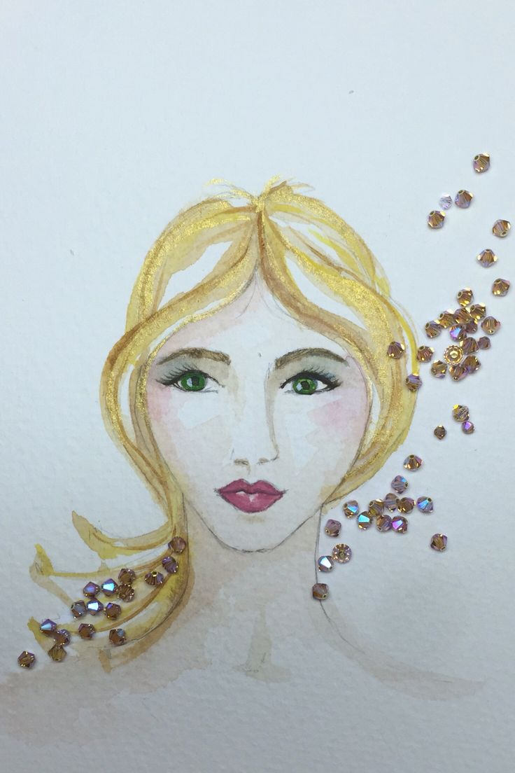 Water colour blonde with crystal beads