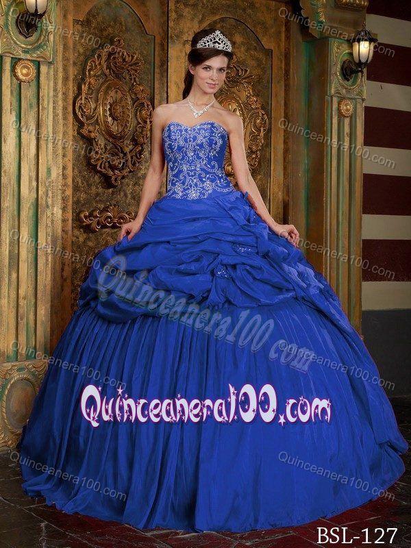 Fashionable Blue Pick-ups Ruche Appliques Trajes De Quinceaneras