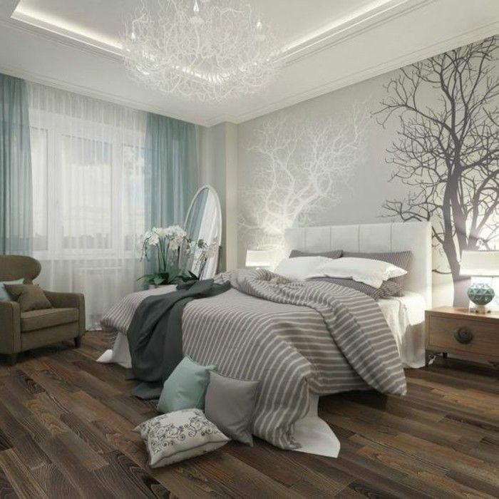 chambre a coucher beige et bleu papier peint elitis beige - Deco Chambre A Coucher Cosy