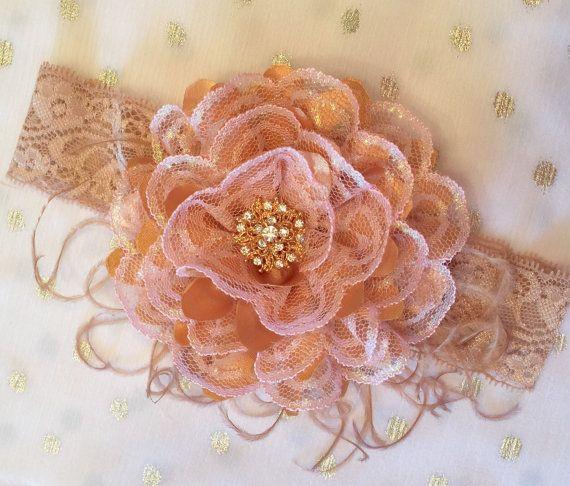 Fascia alta moda Vintage rosa oro pizzo rosa infante