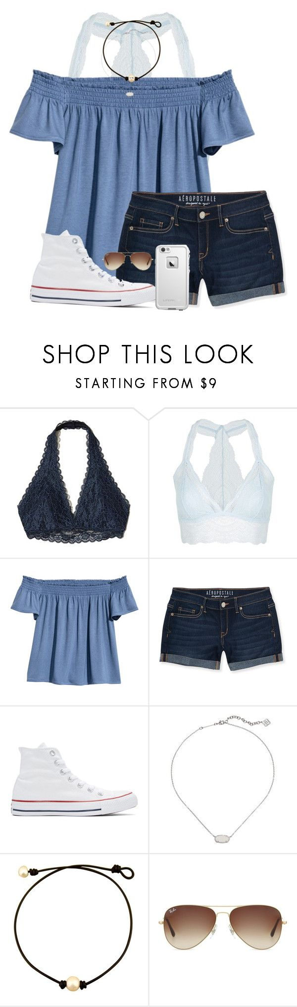 """it's so hot in South Carolina☀️☀️"" by penguinfan911 ❤ liked on Polyvore featuring Hollister Co., Topshop, H&M, Aéropostale, Converse, Kendra Scott, Ray-Ban and LifeProof"