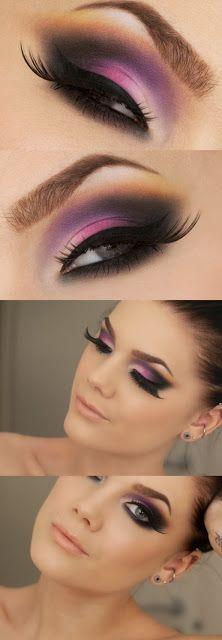 #Maquillaje en todos rosas-lilas ¿Te gusta?