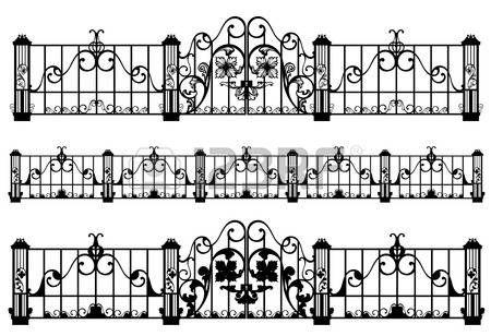 ferforje çit ve kapı detaylı siyah ve beyaz taslaklar photo