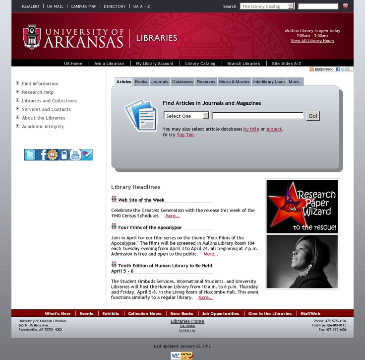 University of Arkansas Libraries Website 'http://libinfo.uark.edu/' snapped on Snapito!