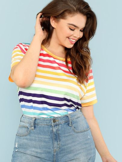 05e56e5aa19 Shop Plus Colorful Striped T-shirt online. SheIn offers Plus Colorful  Striped T-shirt   more to fit your fashionable needs.