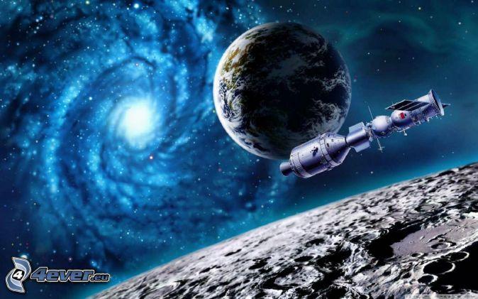 Erde, Mond, Galaxie, Satellit