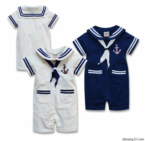 2014 New summer Retail navy style baby romper suit kids boys girls rompers+hat body summer short-sleeve sailor suit US $10.55